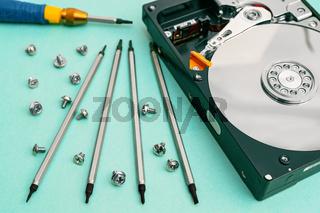 Set of screwdrivers for repair. Computer repair. Computer hard drive.