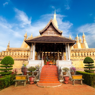 Golden buddhist pagoda. laos