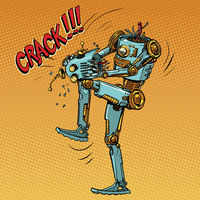 The mad robot breaks its head and brain