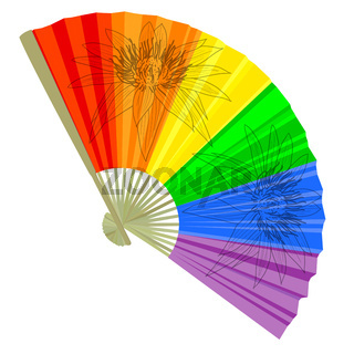 traditional, a rainbow Folding Fans. Vector illustration.