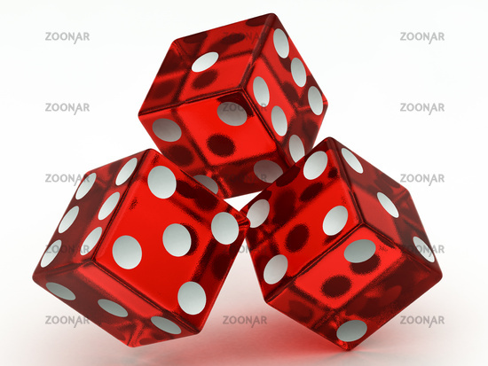 three red dices falling