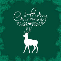 Green Merry Christmas watercolor background with white deer isolated