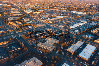 Aerial view of american town