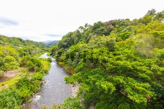 Panama Boquete Caldera river on a cloudy day