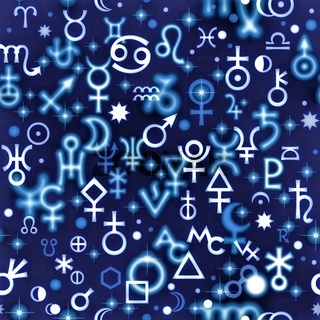 Astrological hieroglyphic signs, Mystic kabbalistic symbols. Twilight background, chaotic seamless pattern.