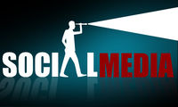 Social media concept with business man looking through telescope