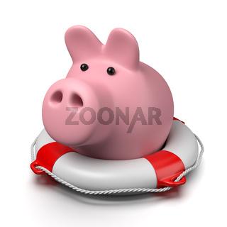 Pink Piggy Bank on a Lifebuoy on White Background 3D Illustration