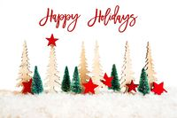 Christmas Tree, Snow, Red Star, Text Happy Holidays