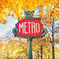 Metro subway station sign in Paris