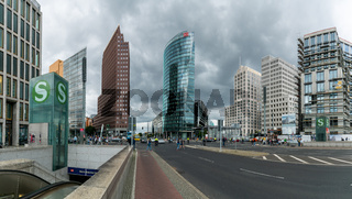 view of the Potsdamer Platz Square and train station in downtown Berlin