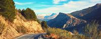 Mountain road leading to Sierra Nevada. Spain