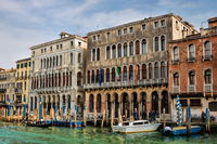 Venice, Italy - 03/16/2019 - palazzo corner loredan and palazzo dandolo farsetti