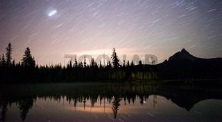Late Night Star Trails Oregon Mountain Lake Landscape Long Exposure