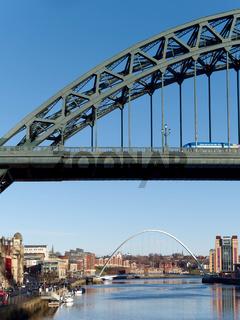 NEWCASTLE UPON TYNE, TYNE AND WEAR/UK - JANUARY 20 : View of the Tyne  Bridge in Newcastle upon Tyne, Tyne and Wear on January 20, 2018. Unidentified people