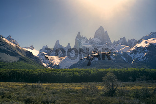Chilean mountains bathing in sunlight in Los Glaciares National Park
