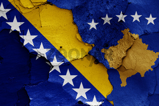 flags of Bosnia and Herzegovina and Kosovo painted on cracked wall