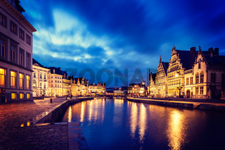 Vintage retro hipster style image of travel Europe Belgium background - Ghent canal