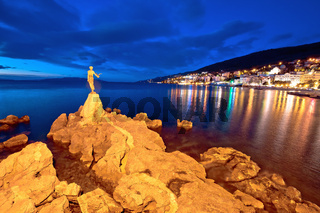 Opatija bay statue and waterfront at sunset view