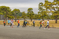 People Running at Imperial Garden Park, Tokyo, Japan