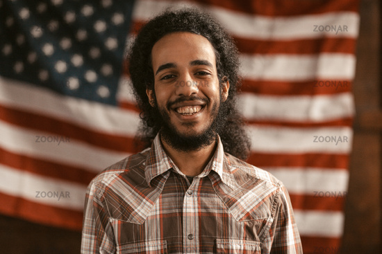 Patriotic American Openly Smiles Rejoicing In His Independence
