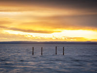 Sunset on lake Neusiedlersee in Burgenland