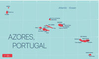 Azores islands, Portugal detailed editable map