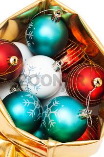 gold bag with Christmas balls