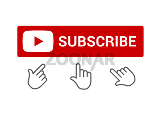 Red subscribe button with push button hand icon, chat or reminder notifications, elements for blogging, set of smm icons, flat style vector illustration.