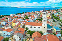 Crikvenica. Town on Adriatic sea waterfront aerial view.