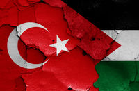 flags of Turkey and Palestine painted on cracked wall