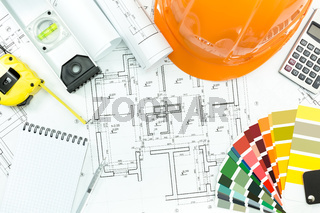 Architectural background with work tools