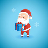 Christmas funny Santa Claus holding gift box, vector illustration.