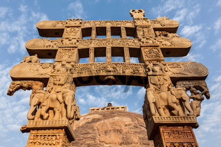 Gateway decoration of Great Stupa - ancient Buddhist monument. Sanchi