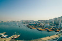 Panorama view of Busan harbor in Busan, Korea