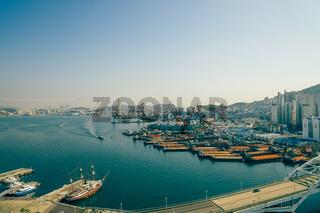 Panorama view of Busan harbor in Busan, Korea