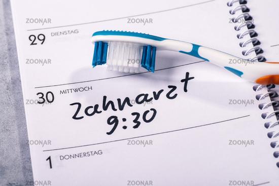 Zahnarzttermin im Kalender