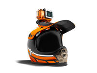 Modern orange motorcycle helmet with orange action camera 3d render on white background with shadow