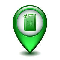 Green Glossy Style Map Pointer With canister of engine oil or petroleum.