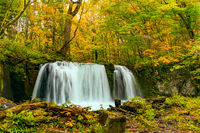 Choshi Otaki Waterfalls in the colorful foliage of autumn forest