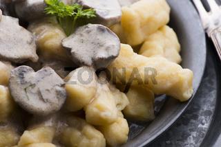 Gnocchi with a mushroom cream sauce