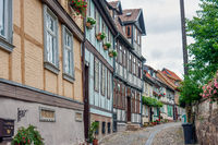 Medieval road and cityscape of German Quedlinburg