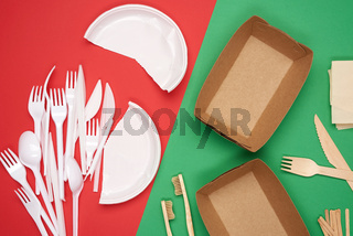 non-degradable plastic waste from disposable tableware and a set of dishes from environmental recycled materials