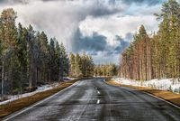 The lonely automobile road in the forest with the dramatic sky
