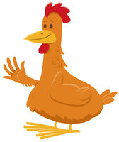 funny chicken or hen farm animal comic character
