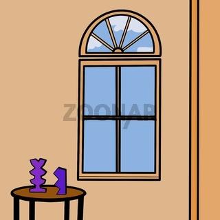 Illustration eines Raumes mit Bogenfenster