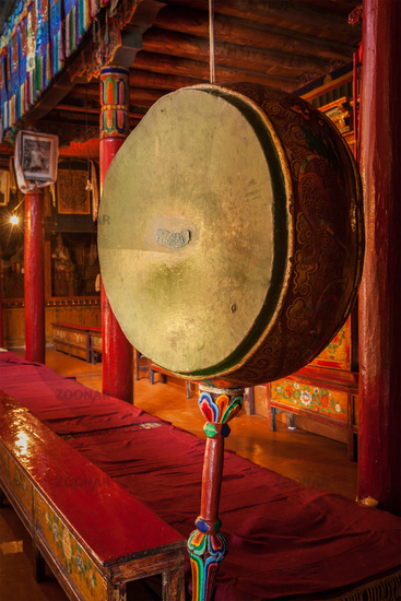 Gong drum in Likir gompa