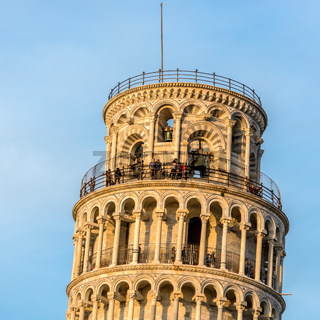 PISA, TUSCANY/ITALY  - APRIL 18 : Exterior view of the Leaning Tower in Pisa Tuscany Italy on April 18, 2019. unidentified people