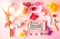 Sunny Nostalgic Easter Flat Lay, Sign, Calligraphy Spring Cleaning