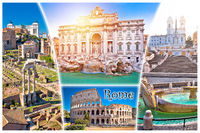 Rome postcard. Eternal city of Rome famous landmarks tourist postcard view, with city name label