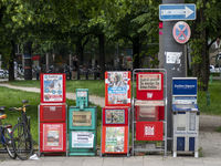 News Racks showing the Press Variety in Munich